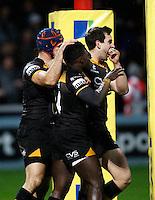 Photo: Richard Lane/Richard Lane Photography. Gloucester Rugby v London Wasps. Aviva Premiership. 02/11/2013 Wasps' Christian Wade (c) celebrates his try.