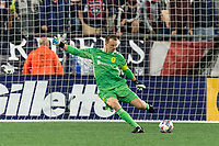 FOXBOROUGH, MA - AUGUST 4: Joe Willis #1 of Nashville SC takes a goal kick during a game between Nashville SC and New England Revolution at Gillette Stadium on August 4, 2021 in Foxborough, Massachusetts.