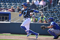 Omaha Storm Chasers center fielder Brett Eibner swings against the Round Rock Express at Werner Park on April 12, 2016 in Omaha, Nebraska.  The Express won 6-4.  (Dennis Hubbard/Four Seam Images)