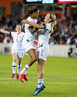 HOUSTON, TX - JANUARY 31: Jessica McDonald #14 and Lindsey Horan #9 of the USA celebrate a goal during a game between Panama and USWNT at BBVA Stadium on January 31, 2020 in Houston, Texas.