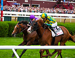 August 28, 2021: Gufo #2, ridden by jockey Joel Rosario holds off a fast closing Japan (GB) ridden by jockey Ryan Moore to win the Grade 1 Sword Dancer Stakes on the turf at Saratoga Race Course in Saratoga Springs, N.Y. on August 28th, 2021. Scott Serio/Eclipse Sportswire/CSM