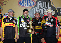 Jul. 1, 2012; Joliet, IL, USA: NHRA  funny car driver Jeff Arend and crew celebrate after winning the Route 66 Nationals at Route 66 Raceway. Mandatory Credit: Mark J. Rebilas-