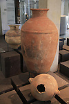Burial jars from Tel Dan, Middle Bronze age, at the Skirball Museum of Biblical Archaeology in Jerusalem