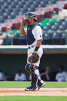 Charlotte Knights catcher Miguel Gonzalez (27) gives defensive signals during the International League game against the Gwinnett Braves at Knights Stadium on July 28, 2013 in Fort Mill, South Carolina.  The Knights defeated the Braves 6-1.  (Brian Westerholt/Four Seam Images)
