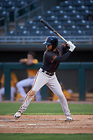 AZL Giants Black Jairo Pomares (16) at bat during an Arizona League game against the AZL Athletics Gold on July 12, 2019 at Hohokam Stadium in Mesa, Arizona. The AZL Giants Black defeated the AZL Athletics Gold 9-7. (Zachary Lucy/Four Seam Images)