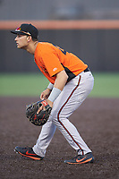Frederick Keys first baseman J.C. Escarra (43) on defense against the Buies Creek Astros at Jim Perry Stadium on April 28, 2018 in Buies Creek, North Carolina. The Astros defeated the Keys 9-4.  (Brian Westerholt/Four Seam Images)