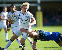 Nathan Fowles of Sale Sharks is tackled by Simon Taylor of Bath Rugby during the Aviva Premiership match between Bath Rugby and Sale Sharks at the Recreation Ground on Saturday 29th September 2012 (Photo by Rob Munro)