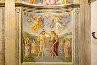"""Italien, Umbrien, Fresken """" Taufe Christi""""von Perugino im Oratorio della Nunzia in Foligno, 1513"""