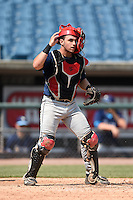 Elih Marrero (2) of Coral Gables Senior High School in Miami, Florida playing for the Tampa Bay Rays scout team during the East Coast Pro Showcase on August 2, 2014 at NBT Bank Stadium in Syracuse, New York.  (Mike Janes/Four Seam Images)