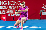 Kristina Kucova of Slovakia competes against Jelena Ostapenko of Latvia during the singles first round match at the WTA Prudential Hong Kong Tennis Open 2018 at the Victoria Park Tennis Stadium on 08 October 2018 in Hong Kong, Hong Kong.