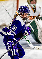 16 February 2019: Holy Cross Crusader Forward Rachel Moore, a Junior from Falmouth, MA, in action against the University of Vermont Catamounts at Gutterson Fieldhouse in Burlington, Vermont. The Lady Cats defeated the Crusaders 4-1 to sweep their 2-game weekend series. Mandatory Credit: Ed Wolfstein Photo *** RAW (NEF) Image File Available ***