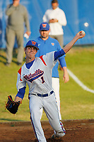 Whiteville High School Wolfpack pitcher MacKenzie Gore (1) throwing in the bullpen before a game against the South Columbus High School Stallions at Legion Stadium on March 28, 2017 in Whiteville, North Carolina. Whiteville defeated South Columbus 3-2. (Robert Gurganus/Four Seam Images)