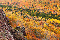 Fall foliage viewed from Brockway Summit, Keewenaw Peninsula, upper Michigan.