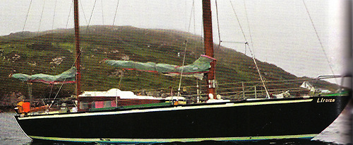 The veteran Glenans ketch L'Iroise at Clifden during her circuit of Ireland