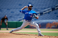 Toronto Blue Jays pitcher Yennsy Diaz (36) during an Instructional League game against the Philadelphia Phillies on September 23, 2019 at Spectrum Field in Clearwater, Florida.  (Mike Janes/Four Seam Images)
