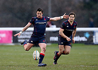 Jake Sharp of London Scottish kicks from the spot during the Greene King IPA Championship match between London Scottish Football Club and Jersey at Richmond Athletic Ground, Richmond, United Kingdom on 16 December 2017. Photo by Mark Kerton / PRiME Media Images.