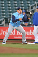 Colorado Springs Sky Sox first baseman Ji-Man Choi (45) in action against the Omaha Storm Chasers at Werner Park on April 5, 2018 in Omaha, Nebraska. The Sky Sox won 3-1.  (Dennis Hubbard/Four Seam Images)