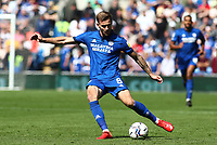 28th August 2021; Cardiff City Stadium, Cardiff, Wales;  EFL Championship football, Cardiff versus Bristol City; Joe Ralls of Cardiff City crosses the ball