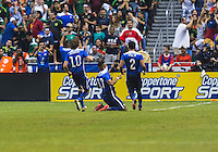 United States' forward Juan Agudelo (17) celebrates after scoring second goal against Mexico during an international friendly at the Alamodome, Wednesday, April 15, 2015 in San Antonio, Tex. USA defeated Mexico 2-0. (Mo Khursheed/TFV Media via AP Images)