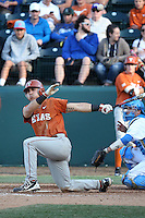 Tres Barrera (1) of the Texas Longhorns bats against the UCLA Bruins at Jackie Robinson Stadium on March 12, 2016 in Los Angeles, California. UCLA defeated Texas, 5-4. (Larry Goren/Four Seam Images)