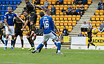 St Johnstone v Motherwell…08.08.21  McDiarmid Park<br />Stephen O'Donnell in front of Hayden Muller touches in David Wotherspoon's shot for an own goal<br />Picture by Graeme Hart.<br />Copyright Perthshire Picture Agency<br />Tel: 01738 623350  Mobile: 07990 594431