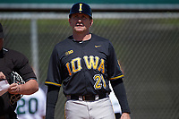 Iowa Hawkeyes head coach Rick Heller (21) during a game against the Dartmouth Big Green on February 27, 2016 at South Charlotte Regional Park in Punta Gorda, Florida.  Iowa defeated Dartmouth 4-1.  (Mike Janes/Four Seam Images)