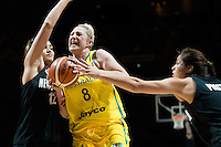Melbourne, 15 August 2015 - Suzy BATKOVIC of Australia drives to the basket in game one of the 2015 FIBA Oceania Championships in women's basketball between the Australian Opals and the New Zealand Tall Ferns at Rod Laver Arena in Melbourne, Australia. Aus def NZ 61-41. (Photo Sydney Low / sydlow.com)