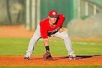 Orem Owlz first baseman Wade Hinkle (35) on defense against the Ogden Raptors at Lindquist Field on July 27, 2012 in Ogden, Utah.  The Raptors defeated the Owlz 6-3.   (Brian Westerholt/Four Seam Images)