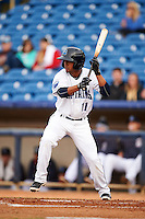 Lake County Captains third baseman Ordomar Valdez (11) squares to bunt during a game against the Fort Wayne TinCaps on May 20, 2015 at Classic Park in Eastlake, Ohio.  Lake County defeated Fort Wayne 4-3.  (Mike Janes/Four Seam Images)