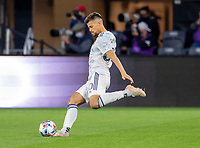 WASHINGTON, DC - MAY 13: Miguel Navarro #6 of Chicago Fire FC crosses the ball during a game between Chicago Fire FC and D.C. United at Audi FIeld on May 13, 2021 in Washington, DC.