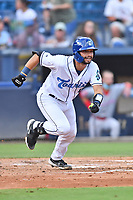 Asheville Tourists Cesar Salazar (11) runs to first base during a game against the Greenville Drive on July 14, 2021 at McCormick Field in Asheville, NC. (Tony Farlow/Four Seam Images)