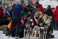 2010 Iditarod Ceremonial Start in Anchorage Alaska musher # 26 TAMARA ROSE with Iditarider DR. JOCELYN MOTT