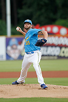 Myrtle Beach Pelicans pitcher Alex Lange (35) on the mound during a game against the Winston-Salem Dash at Ticketreturn.com Field at Pelicans Ballpark on July 23, 2018 in Myrtle Beach, South Carolina. Winston-Salem defeated Myrtle Beach 6-1. (Robert Gurganus/Four Seam Images)