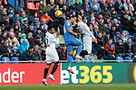 Getafe CF's Damian Suarez and Valencia CF's Francis Coquelin (L) and Gonzalo Guedes (R) during La Liga match between Getafe CF and Valencia CF at Coliseum Alfonso Perez in Getafe, Spain. November 10, 2018.