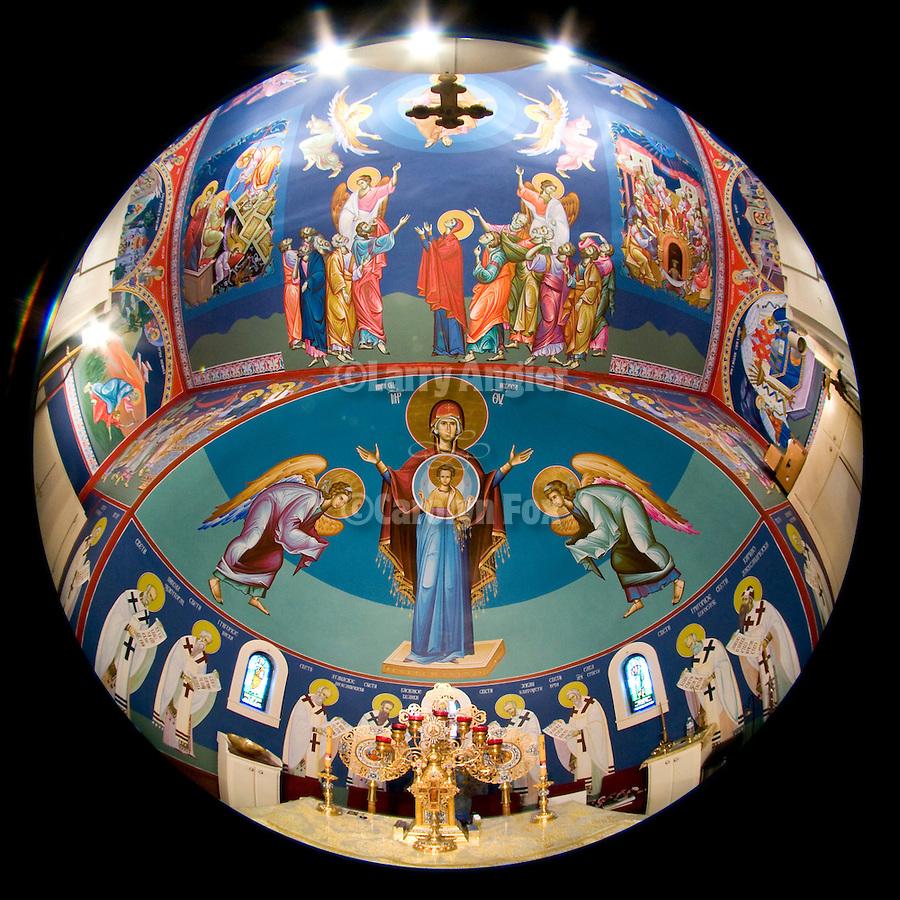 Miloje Milinkovich's icons painted on the walls of historic St. Sava Serbian Orthodox Church, Jackson, Calif.
