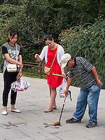Kalligraphie im BeiHai Park, Peking, China, Asien<br /> Calligraphy in Beihai Park, Beijing, China, Asia