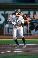 Manuel Melendez (1) of the Grand Junction Rockies   squares to bunt against the Ogden Raptors during the game in Pioneer League action at Lindquist Field on August 24, 2016 in Ogden, Utah. The Raptors defeated the Rockies 11-10. (Stephen Smith/Four Seam Images)