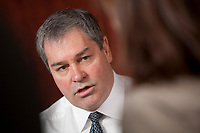 Yves Bolduc, Friday June 8, 2012.Quebec health minister (Ministre de la Sante et des Services sociaux) Yves Bolduc gestures as he speaks during a sit down interview in his office in Quebec City Friday June 8, 2012.<br /> <br /> PHOTO :  Francis Vachon - Agence Quebec Presse