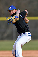 Pitcher Davis Agle (1) of the Spartanburg Methodist College Pioneers delivers a pitch during Game 2 of a junior college season-opening doubleheader against the Patrick Henry Patriots on February 3, 2018, at Mooneyham Field in Spartanburg, South Carolina. (Tom Priddy/Four Seam Images)