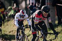 Greg Van Avermaet (BEL/BMC) charging up the Molenberg (cobbles)<br /> <br /> Omloop Het Nieuwsblad 2018<br /> Gent › Meerbeke: 196km (BELGIUM)