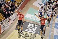 Team presentation of Jasper de Buyst (BEL/Lotto-Soudal) & Tosh Van der Sande (BEL/Lotto-Soudal)<br /> <br /> Lotto 6daagse Vlaanderen-Gent 2018 / Gent6<br /> day 5