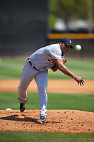Detroit Tigers pitcher Sandy Baez (62) during a minor league Spring Training game against the New York Yankees on March 22, 2017 at the Yankees Complex in Tampa, Florida.  (Mike Janes/Four Seam Images)