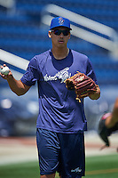 Pensacola Blue Wahoos pitcher Robert Stephenson (17) throws in the outfield before a double header against the Biloxi Shuckers on April 26, 2015 at Pensacola Bayfront Stadium in Pensacola, Florida.  (Mike Janes/Four Seam Images)