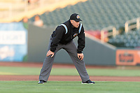 Umpire John Libka during a Pacific Coast League game between the Omaha Storm Chasers and the Memphis Redbirds on April 26, 2019 at Werner Park in Omaha, Nebraska. Memphis defeated Omaha 7-3. (Zachary Lucy/Four Seam Images)