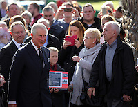 Pictured: Prince Charles arrives at the Memorial Garden in Aberfan Friday 21 October 2016<br /> Re: Wales has fallen silent as the country remembered the Aberfan disaster 50 years ago.<br /> On 21 October 1966, a mountain of coal waste slid down into a school and houses in the Welsh village, killing 144 people, including 116 children.<br /> A day of events to commemorate the disaster included a service at Aberfan Cemetery at 9:15am on Friday.<br /> Prince Charles is visiting Aberfan memorial garden before unveiling a plaque in memory of the victims.<br /> He will also attend a reception with the families of some of those who lost their lives, before signing a book of remembrance.
