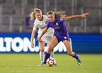 Orlando, FL - Saturday March 24, 2018: Utah Royals defender Katie Bowen (6) and Orlando Pride midfielder Dani Weatherholt (17) battle for a ball during a regular season National Women's Soccer League (NWSL) match between the Orlando Pride and the Utah Royals FC at Orlando City Stadium. The game ended in a 1-1 draw.
