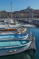 France, Bouches-du-Rhône (13), Marseille, capitale européenne de la culture 2013, Vieux Port et la basilique Notre-Dame de la Garde  // France, Bouches du Rhone, Marseille, European Capital of Culture 2013, Vieux Port, and Notre-Dame de la Garde