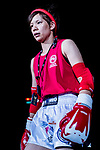Umeo Mei (Red) of Japan enters to the ring prior the female muay 51KG division weight bout against Pan Ting Wei (Not in picture) of Taiwan during the East Asian Muaythai Championships 2017 at the Queen Elizabeth Stadium on 11 August 2017, in Hong Kong, China. Photo by Yu Chun Christopher Wong / Power Sport Images