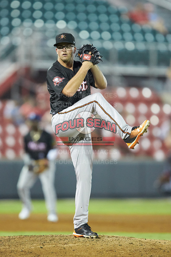 North Division pitcher Alex Wells (34) of the Frederick Keys in action during the 2018 Carolina League All-Star Classic at Five County Stadium on June 19, 2018 in Zebulon, North Carolina. The South All-Stars defeated the North All-Stars 7-6.  (Brian Westerholt/Four Seam Images)