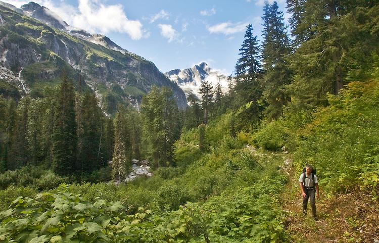 Hiking, Hiker, Little Beaver trail, Mount Whatcom, Pickett Range, North Cascades National Park, wilderness, Cascade Mountains, Washington State, Pacific Northwest, United States, Scott McCredie, released,.